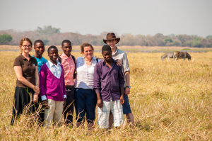 Malawi staff with secondary students on a safari.