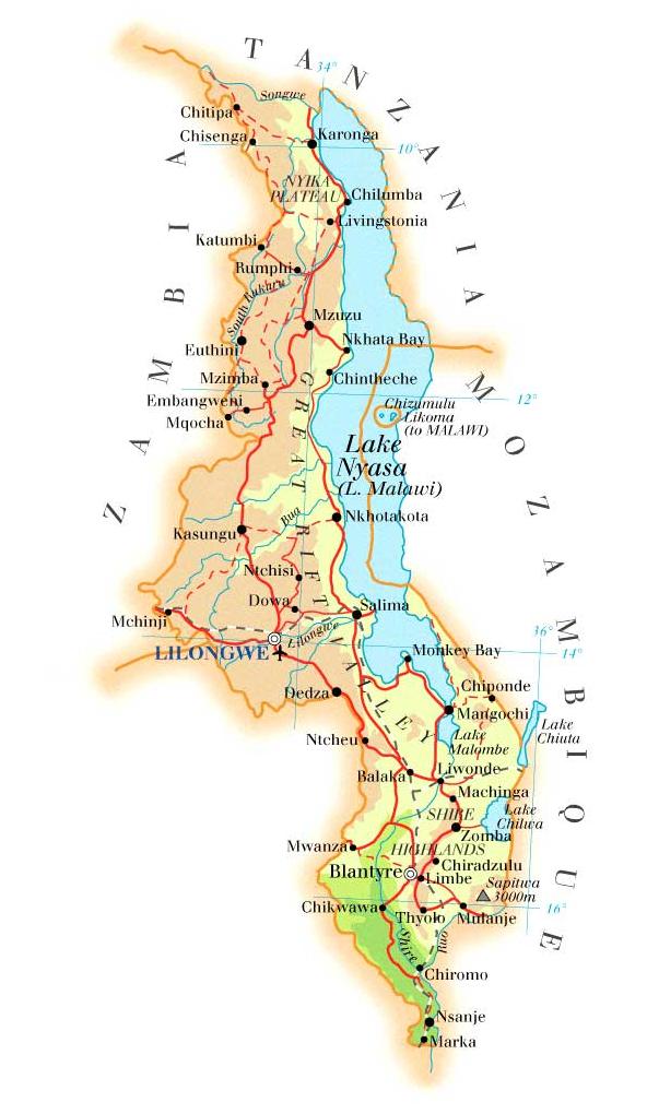 Malawi Helpkids We Help Kids NOW - Malawi map png