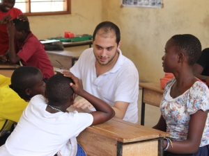 Francisco chats with the Standard 7 students
