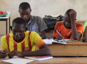 The boys from Standard 7 studying hard