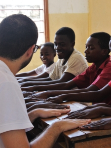 Francisco playing with the Standard 7 students