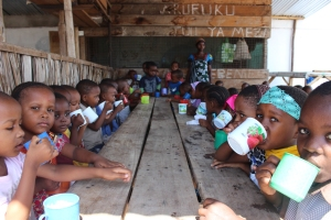 Nearly fifty students enjoy the nursery's meal daily